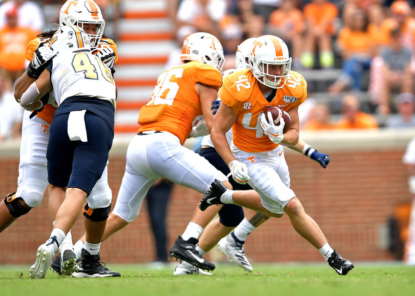 Tennessee Volunteers running back Chip Omer (42) with a carry during the second half of an NCAA football game against the Chattanooga Mocs Saturday, Sept. 14, 2019, at Neyland Stadium in Knoxville Tenn. Tennessee defeats Chattanooga 45-0.
