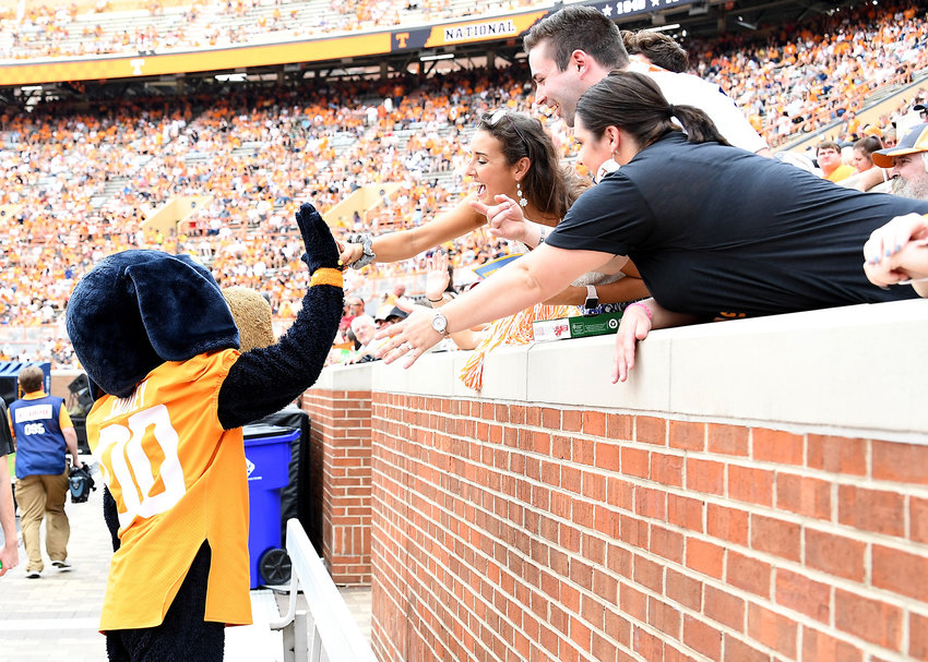 The Tennessee Volunteers mascot connects with fans near the conclusion of the NCAA football game against the Chattanooga Mocs Saturday, Sept. 14, 2019, at Neyland Stadium in Knoxville Tenn. Tennessee defeats Chattanooga 45-0.