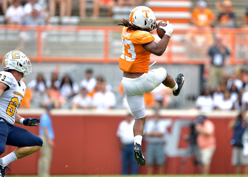 Tennessee Volunteers linebacker Jeremy Banks (33) with an interception in the second half of an NCAA football game against the Chattanooga Mocs Saturday, Sept. 14, 2019, at Neyland Stadium in Knoxville Tenn. Tennessee defeats Chattanooga 45-0.