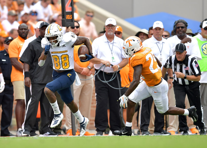 Chattanooga Mocs wide receiver Juwan Tyus (88) with a big run down the sideline in the second half of an NCAA football game against the Tennessee Volunteers Saturday, Sept. 14, 2019, at Neyland Stadium in Knoxville Tenn. Tennessee defeats Chattanooga 45-0.