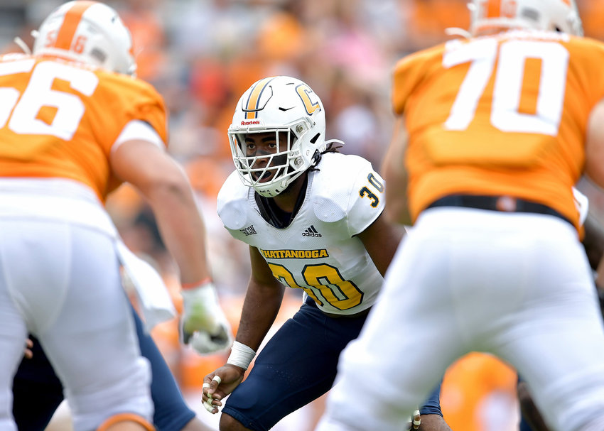 Chattanooga Mocs linebacker Jay Person (30) prepares for the snap during the second half of an NCAA football game against the Tennessee Volunteers Saturday, Sept. 14, 2019, at Neyland Stadium in Knoxville Tenn. Tennessee defeats Chattanooga 45-0.