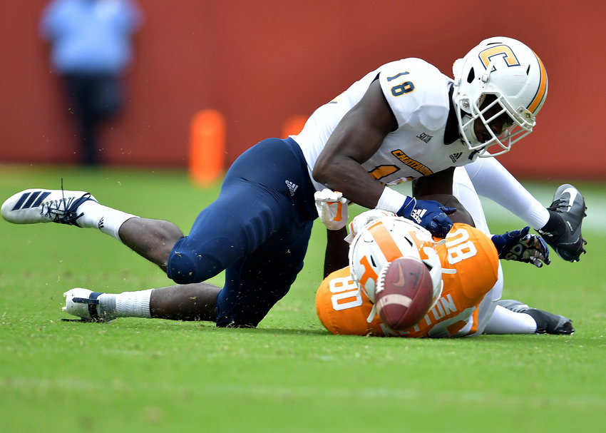 Chattanooga Mocs defensive back Aaron Floyd (18) breaks up a pass intended for Tennessee Volunteers wide receiver Ramel Keyton (80) in the second half of an NCAA football game Saturday, Sept. 14, 2019, at Neyland Stadium in Knoxville Tenn. Tennessee defeats Chattanooga 45-0.