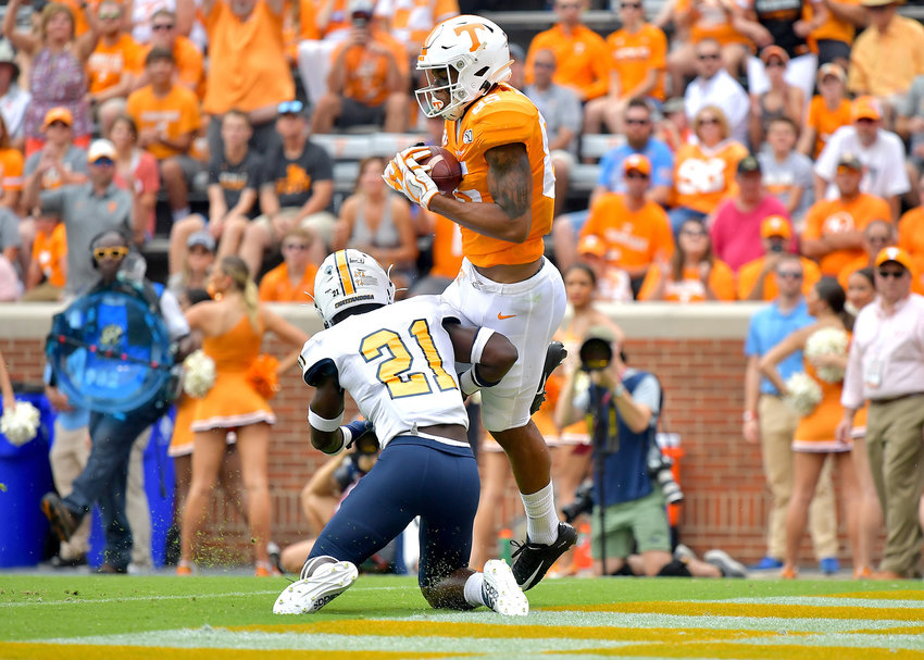 Tennessee Volunteers wide receiver Cedric Tillman (85) with a reception and a touchdown in the second quarter of an NCAA football game against the Chattanooga Mocs Saturday, Sept. 14, 2019, at Neyland Stadium in Knoxville Tenn. Tennessee wins 45-0.