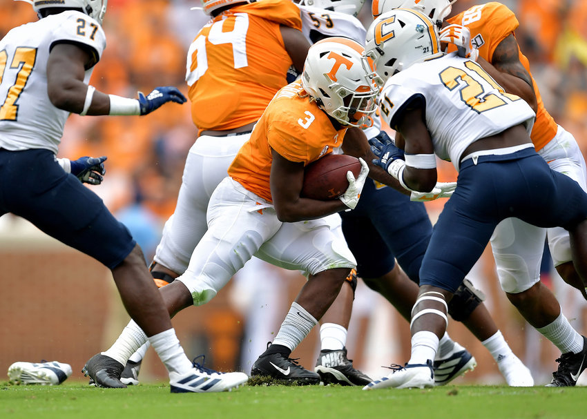Tennessee Volunteers running back Eric Gray (3) finds a hole on a run in the second quarter of the NCAA football game agsint the Chattanooga Mocs Saturday, Sept. 14, 2019, at Neyland Stadium in Knoxville Tenn. Tennessee wins 45-0.