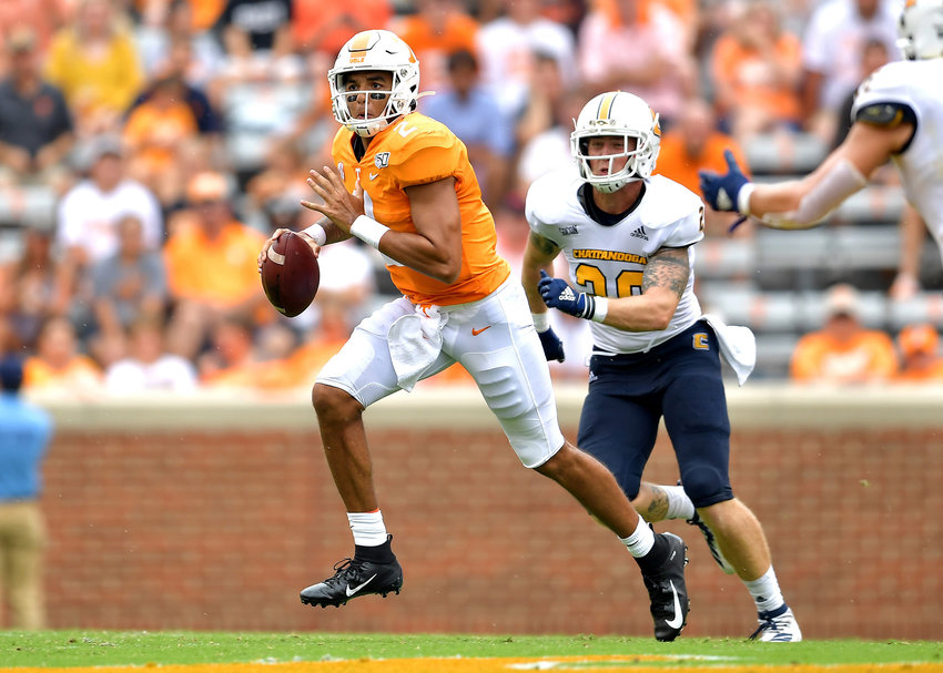 Tennessee Volunteers quarterback Jarrett Guarantano (2) looks for a receiver during the second quarter of the NCAA football game against the Chattanooga Mocs Saturday, Sept. 14, 2019, at Neyland Stadium in Knoxville Tenn. Tennessee wins 45-0.