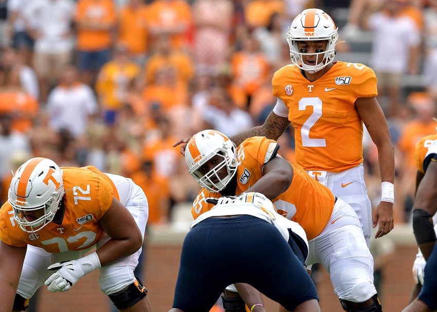Tennessee Volunteers quarterback Jarrett Guarantano (2) adjusts the play at the line of scrimmage in the first half of the NCAA football game against the Chattanooga Mocs Saturday, Sept. 14, 2019, at Neyland Stadium in Knoxville Tenn. Tennessee shuts out Chattanooga 45-0.