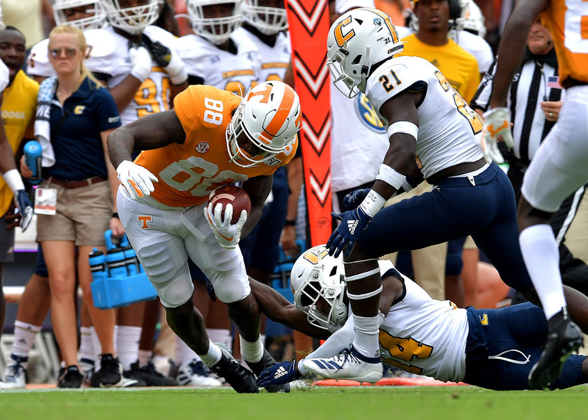 Tennessee Volunteers tight end Princeton Fant (88) is tackled out of bounds during the first half of the NCAA football game against the Chattanooga Mocs Saturday, Sept. 14, 2019, at Neyland Stadium in Knoxville Tenn. Tennessee shuts out Chattanooga 45-0.