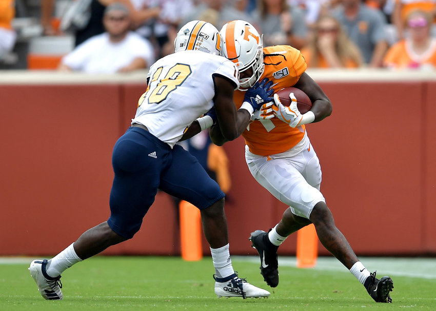 From the first half of the NCAA football game between the Chattanooga Mocs and the Tennessee Volunteers Saturday, Sept. 14, 2019, at Neyland Stadium in Knoxville Tenn. Tennessee shuts out Chattanooga 45-0.
