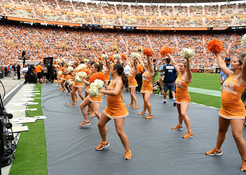 Members of the Tennessee Volunteers dance team perform in the first half of the NCAA football game between the Chattanooga Mocs and the Volunteers Saturday, Sept. 14, 2019, at Neyland Stadium in Knoxville Tenn. Tennessee shuts out Chattanooga 45-0.