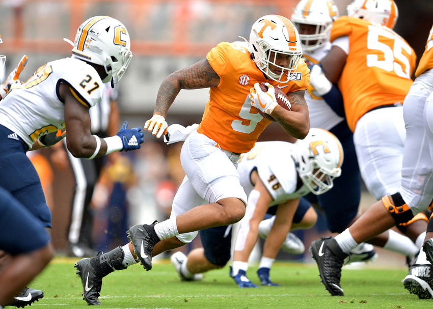 Tennessee Volunteers running back Tim Jordan (9) with a carry during the first half of the NCAA football game between the Chattanooga Mocs and the Tennessee Volunteers Saturday, Sept. 14, 2019, at Neyland Stadium in Knoxville Tenn. Tennessee wins 45-0.
