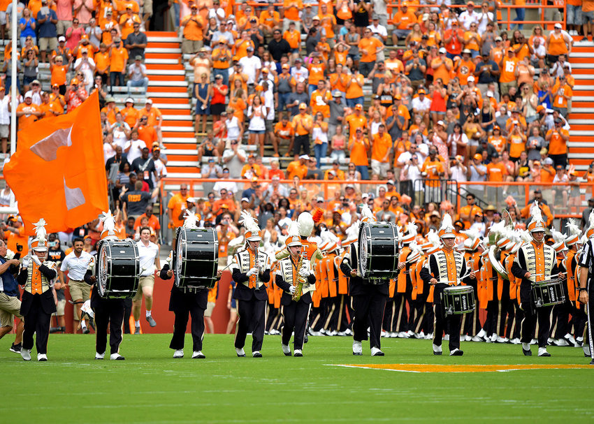 The Pride of the Southland Band performs prior to the NCAA football game between the Chattanooga Mocs and the Tennessee Volunteers Saturday, Sept. 14, 2019, at Neyland Stadium in Knoxville Tenn. Tennessee shuts out Chattanooga 45-0.