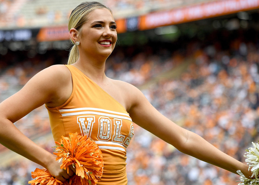 A member of the Tennessee Volunteers dance team performs prior to the start of the NCAA football game between the Chattanooga Mocs and the Volunteers Saturday, Sept. 14, 2019, at Neyland Stadium in Knoxville Tenn. Tennessee shuts out Chattanooga 45-0.