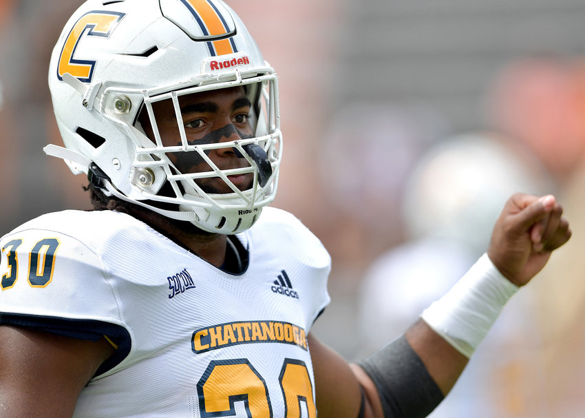 Chattanooga Mocs linebacker Jay Person (30) warms up prior to the start of the NCAA football game between the Mocs and the Tennessee Volunteers Saturday, Sept. 14, 2019, at Neyland Stadium in Knoxville Tenn. Tennessee shuts out Chattanooga 45-0.