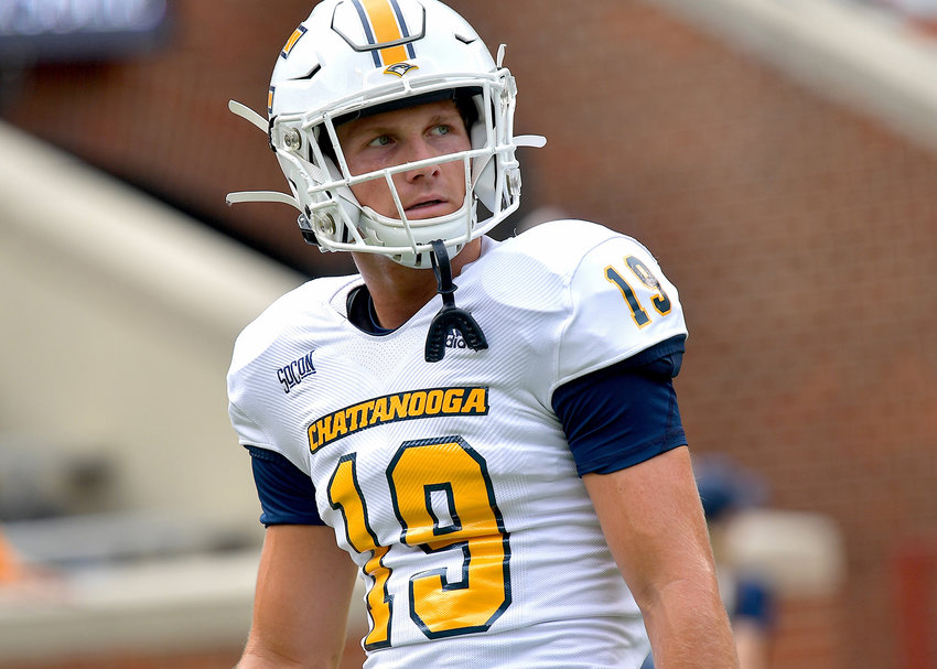 Chattanooga Mocs wide receiver Bryce Nunnelly (19) warms up prior to the start of the first half of the NCAA football game between the Mocs and the Tennessee Volunteers Saturday, Sept. 14, 2019, at Neyland Stadium in Knoxville Tenn. Tennessee shuts out Chattanooga 45-0.