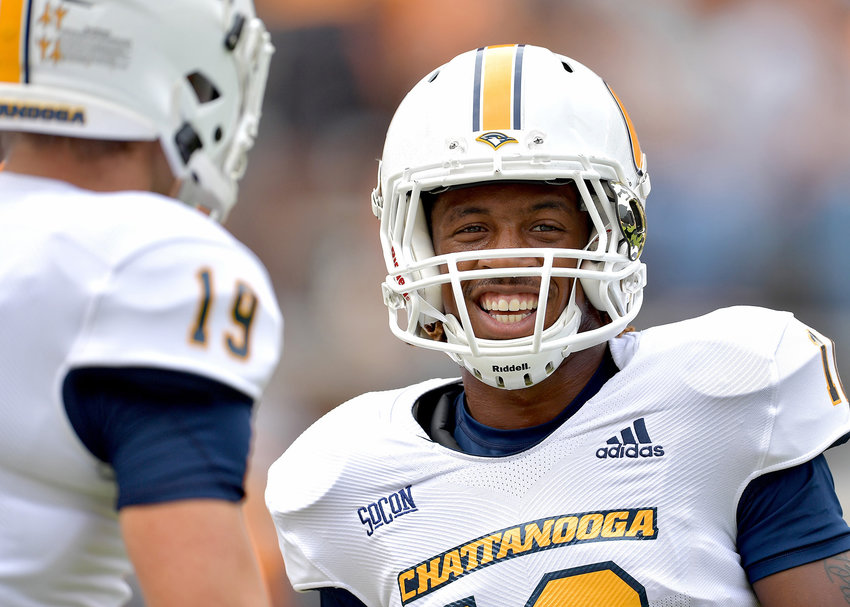 Chattanooga Mocs wide receiver Lameric Tucker (10) reacts to wide receiver Bryce Nunnelly (19) during warmups prior to the first half of the NCAA football game between the Mocs and the Tennessee Volunteers Saturday, Sept. 14, 2019, at Neyland Stadium in Knoxville Tenn. Tennessee shuts out Chattanooga 45-0.