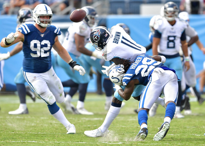 Tennessee Titans wide receiver A.J. Brown (11) cannot hold onto a pass late in the second half of an NFL game between the Titans and the Indianapolis Colts Sept. 15, 2019, at Nissan Stadium in Nashville, Tenn. The Colts beat the Titans 19-17.