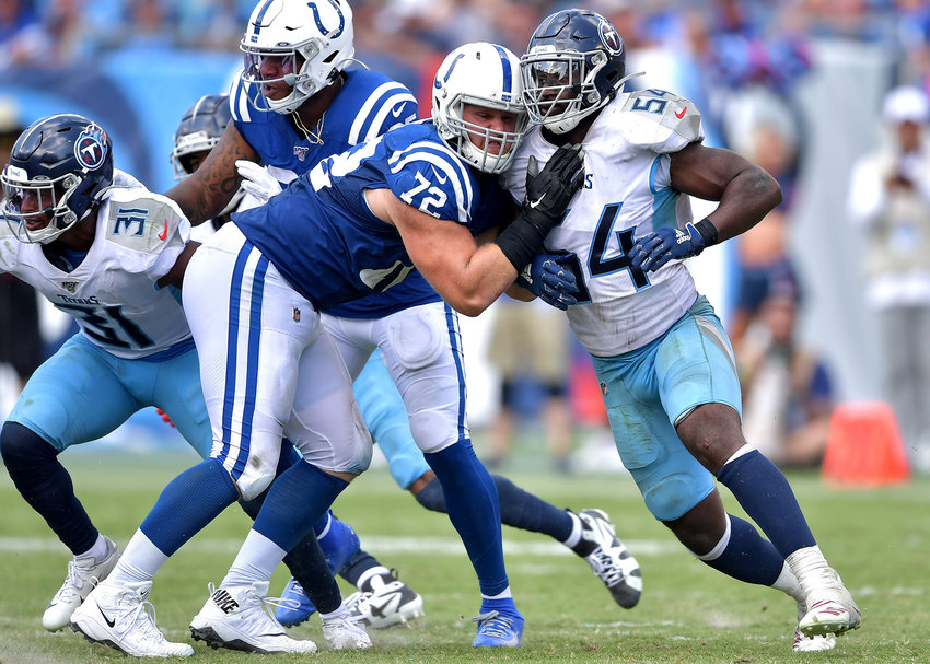 Tennessee Titans inside linebacker Rashaan Evans (54) tangles with Indianapolis Colts offensive guard Braden Smith (72) during the second half of an NFL game Sept. 15, 2019, at Nissan Stadium in Nashville, Tenn. The Colts beat the Titans 19-17.