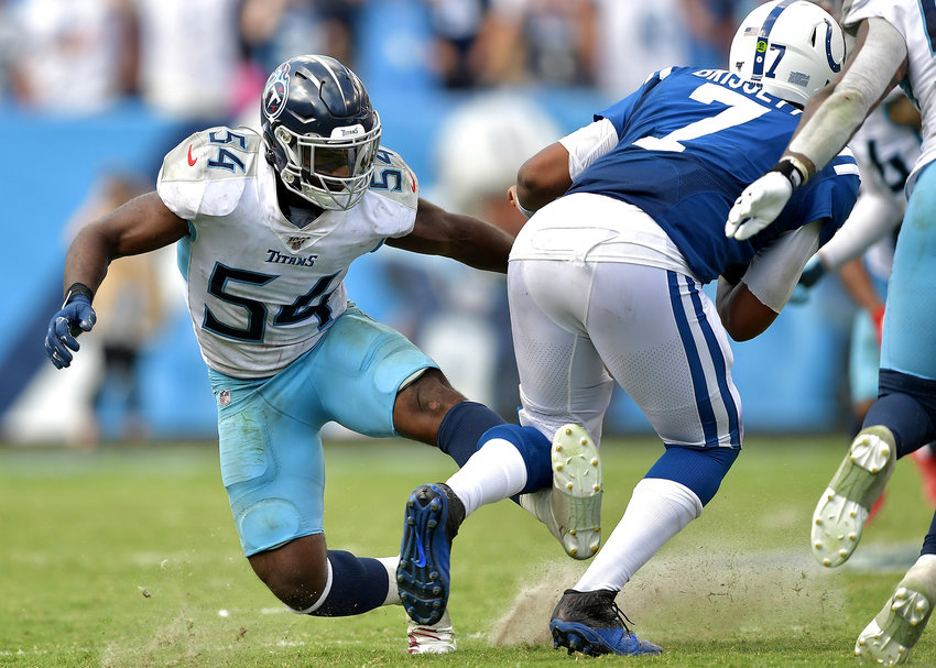 Tennessee Titans inside linebacker Rashaan Evans (54) tries to adjust to make a tackle during the second half of an NFL game between the Titans and the Indianapolis Colts Sept. 15, 2019, at Nissan Stadium in Nashville, Tenn. The Colts beat the Titans 19-17.