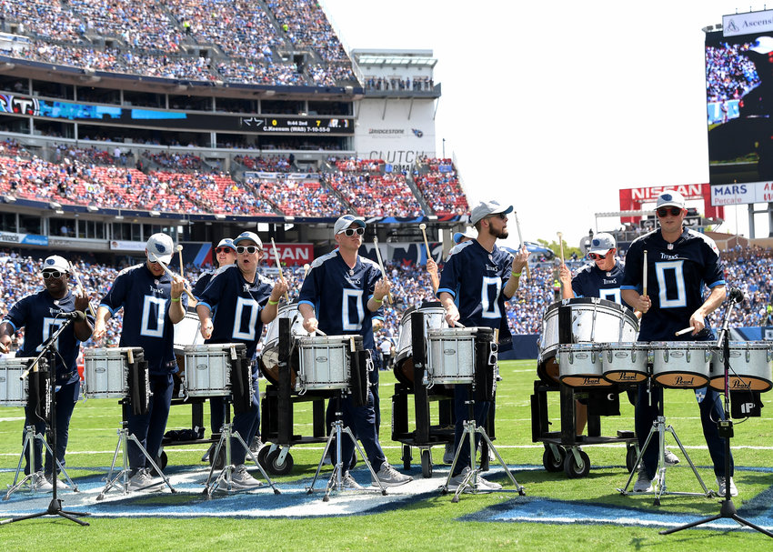 The Tennessee Titans Blue Crew Drumline perform during the second quarter of an NFL game between the Titans and the Indianapolis Colts Sept. 15, 2019, at Nissan Stadium in Nashville, Tenn. The Colts beat the Titans 19-17.