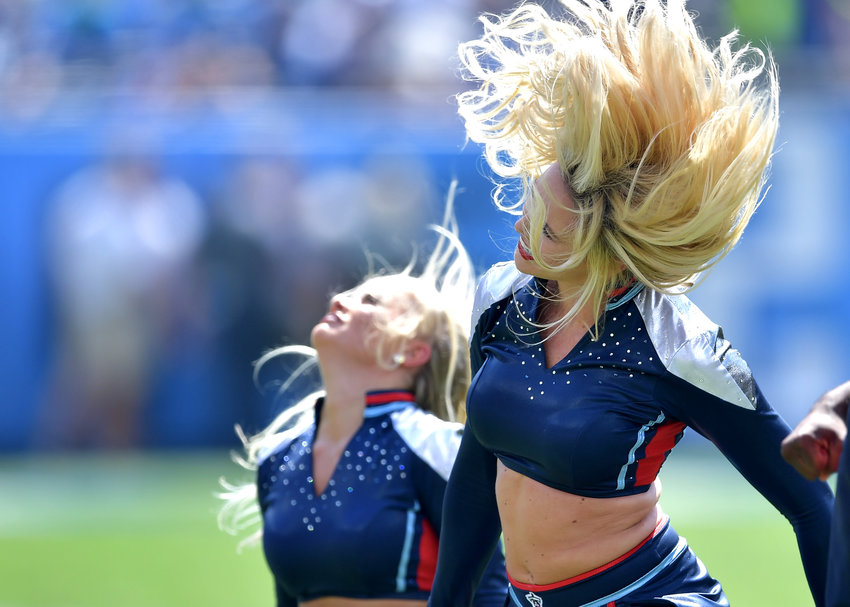 Tennessee Titans cheerleaders perform during the second quarter of the NFL game between the Titans and the Indianapolis Colts Sept. 15, 2019, at Nissan Stadium in Nashville, Tenn. The Colts beat the Titans 19-17.