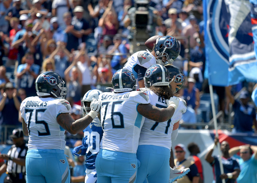 Tennessee Titans offensive tackle David Quessenberry (72) gets his number called and scores a touchdown in the first half of an NFL game between the Titans and the Indianapolis Colts Sept. 15, 2019, at Nissan Stadium in Nashville, Tenn. The Colts beat the Titans 19-17.