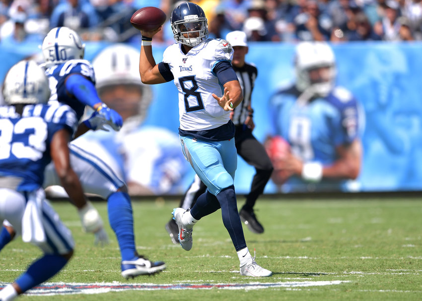 Tennessee Titans quarterback Marcus Mariota (8) looks for a receiver in the first half of an NFL game between the Titans and the Indianapolis Colts Sept. 15, 2019, at Nissan Stadium in Nashville, Tenn. The Colts beat the Titans 19-17.