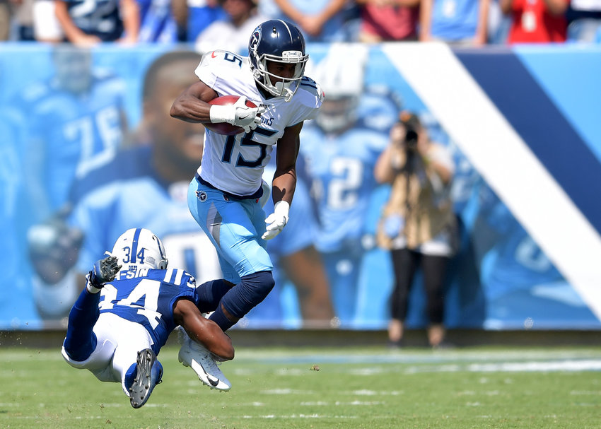 Tennessee Titans wide receiver Darius Jennings (15) adds yards after the catch in the first quarter an NFL game between the Tennessee Titans and the Indianapolis Colts Sept. 15, 2019, at Nissan Stadium in Nashville, Tenn. The Colts beat the Titans 19-17.