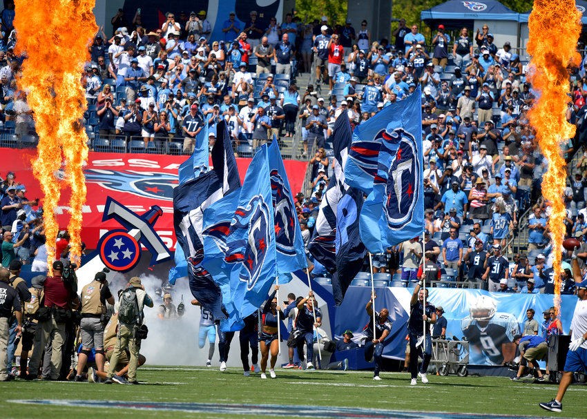 The Tennessee Titans take the field prior to the start of the NFL game between the Titans and the Indianapolis Colts Sept. 15, 2019, at Nissan Stadium in Nashville, Tenn.