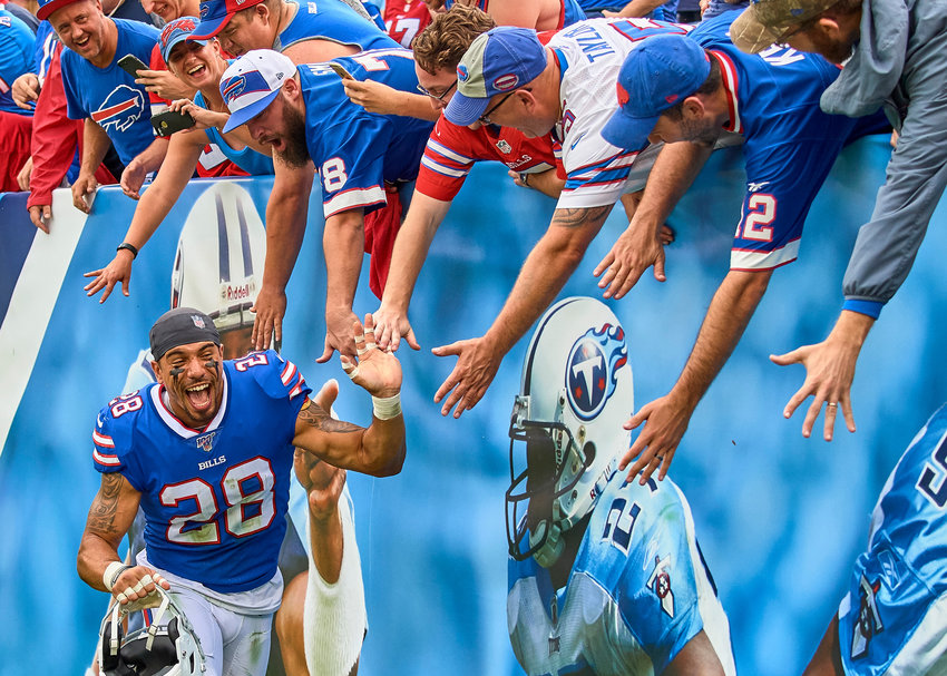 Buffalo Bills strong safety Kurt Coleman (28) celebrates with fans the Bills' win over the Tennessee Titans Sunday, Oct. 6, 2019, at Nissan Stadium in Nashville, Tenn.