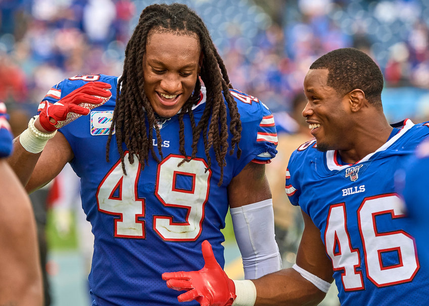 Buffalo Bills middle linebacker Tremaine Edmunds (49) and defensive back Jaquan Johnson (46) celebrate their win over the Tennessee Titans on Sunday, Oct. 6, 2019, at Nissan Stadium in Nashville, Tenn.