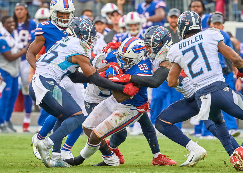 Buffalo Bills running back Frank Gore (20) in action during the second half of an NFL game against the Tennessee Titans Sunday, Oct. 6, 2019, at Nissan Stadium in Nashville, Tenn.