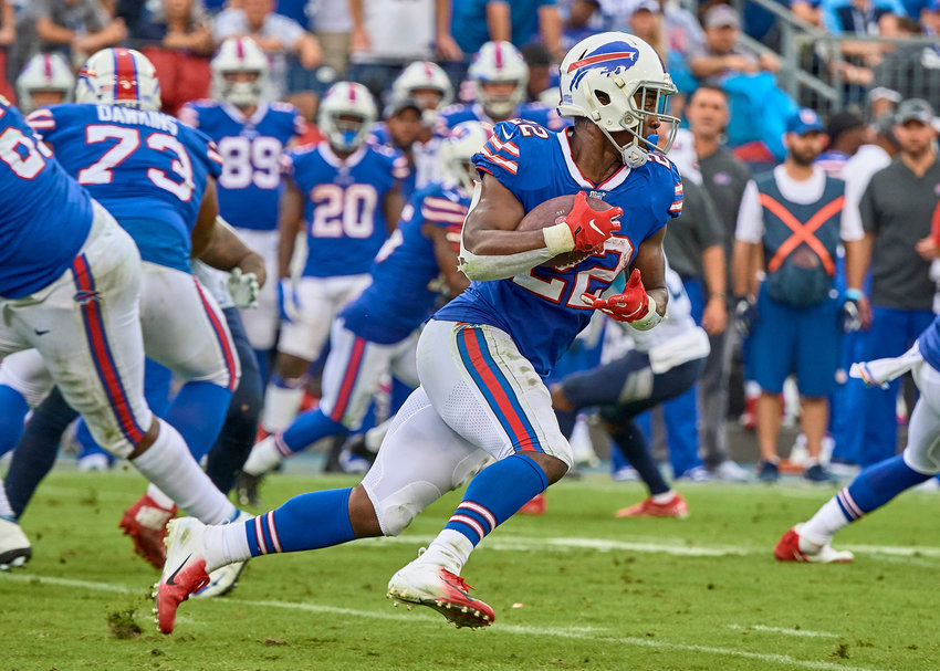 Buffalo Bills running back T.J. Yeldon (22) looks to an open field to run during the second half of an NFL game against the Tennessee Titans Sunday, Oct. 6, 2019, at Nissan Stadium in Nashville, Tenn.