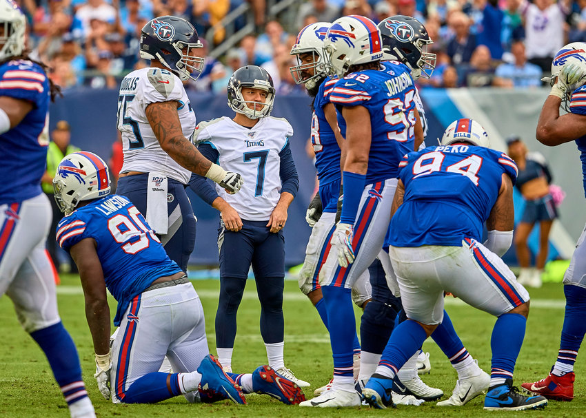 Tennessee Titans kicker Cairo Santos (7) looks on after missing a field goal in the second half of an NFL game against the Buffalo Bills Sunday, Oct. 6, 2019, at Nissan Stadium in Nashville, Tenn.