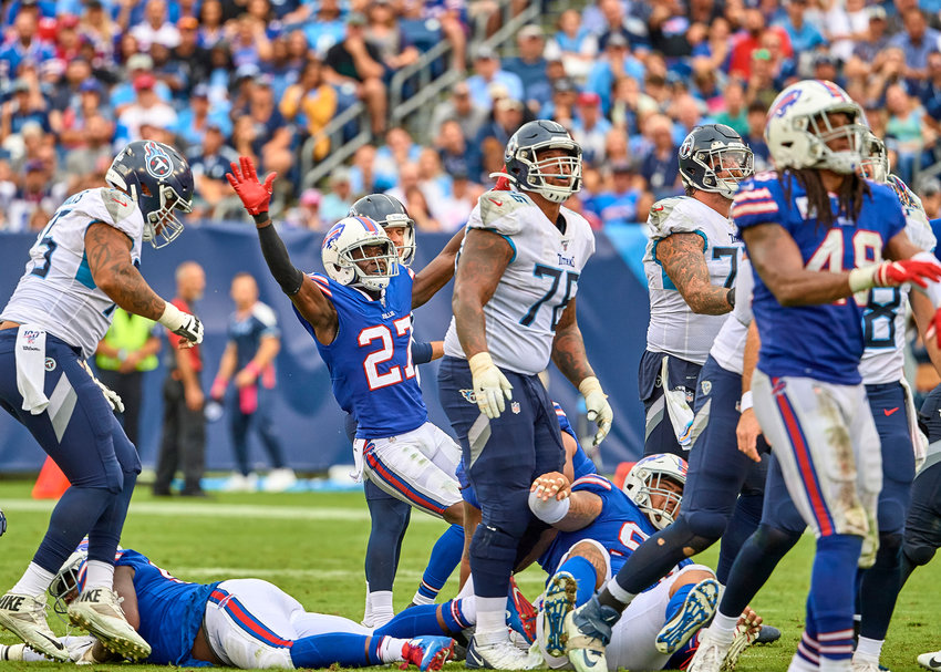 Buffalo Bills cornerback Tre'Davious White (27) celebrates a missed field goal by the Tennessee Titans in the second half of an NFL game Sunday, Oct. 6, 2019, at Nissan Stadium in Nashville, Tenn.
