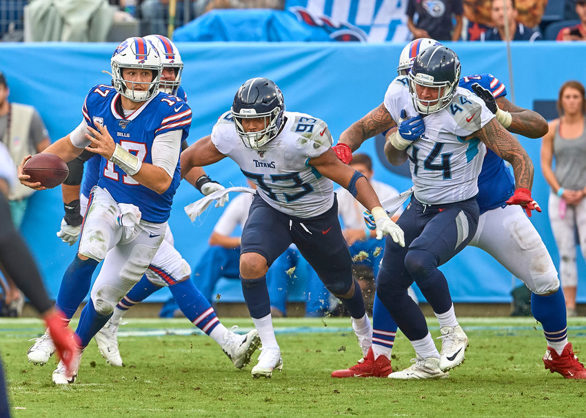 Buffalo Bills quarterback Josh Allen (17) with a keeper in the second half of an NFL game against the Tennessee Titans Sunday, Oct. 6, 2019, at Nissan Stadium in Nashville, Tenn.