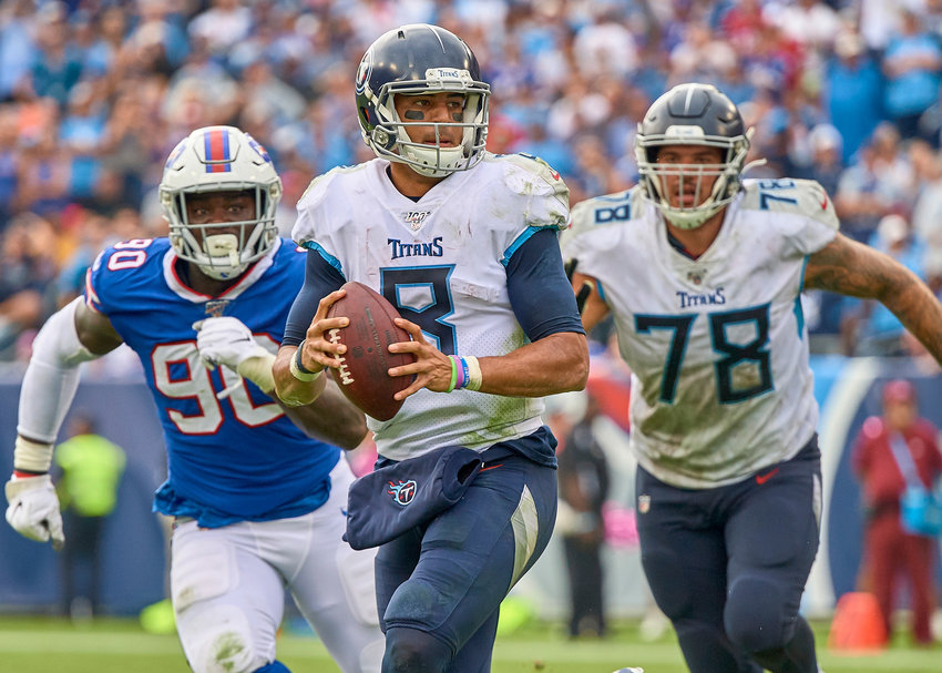 Tennessee Titans quarterback Marcus Mariota (8) looks for a receiver in the second half of an NFL game against the Buffalo Bills Sunday, Oct. 6, 2019, at Nissan Stadium in Nashville, Tenn.