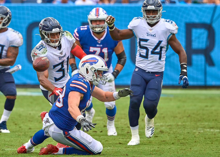 Tennessee Titans free safety Kevin Byard (31) breaks up a play in the second half of an NFL game between the Buffalo Bills and the Titans Sunday, Oct. 6, 2019, at Nissan Stadium in Nashville, Tenn.