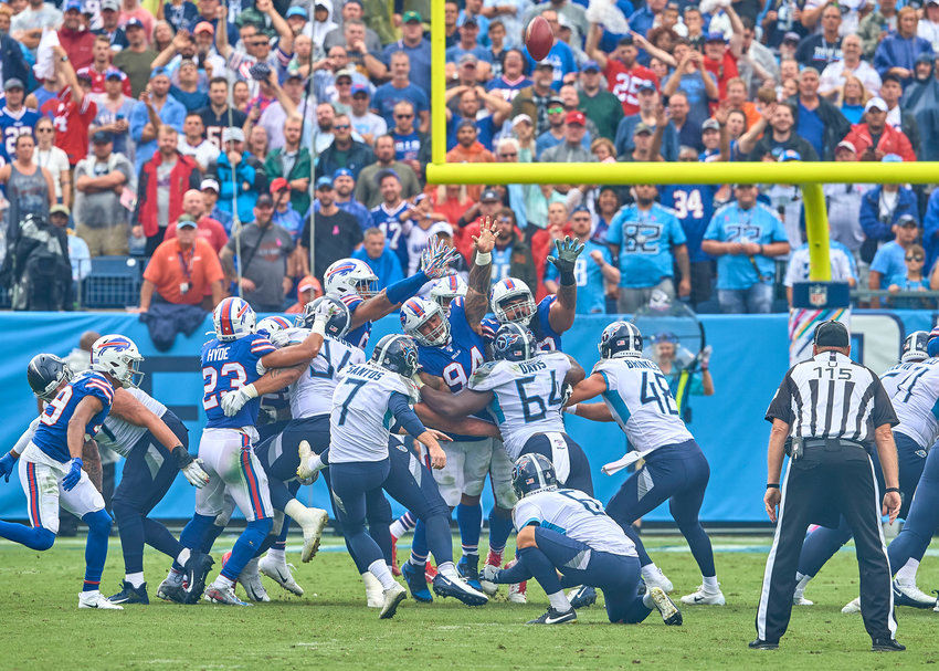 Tennessee Titans kicker Cairo Santos (7) attempts a field goal in the second half of an NFL game between the Buffalo Bills and the Tennessee Titans Sunday, Oct. 6, 2019, at Nissan Stadium in Nashville, Tenn.