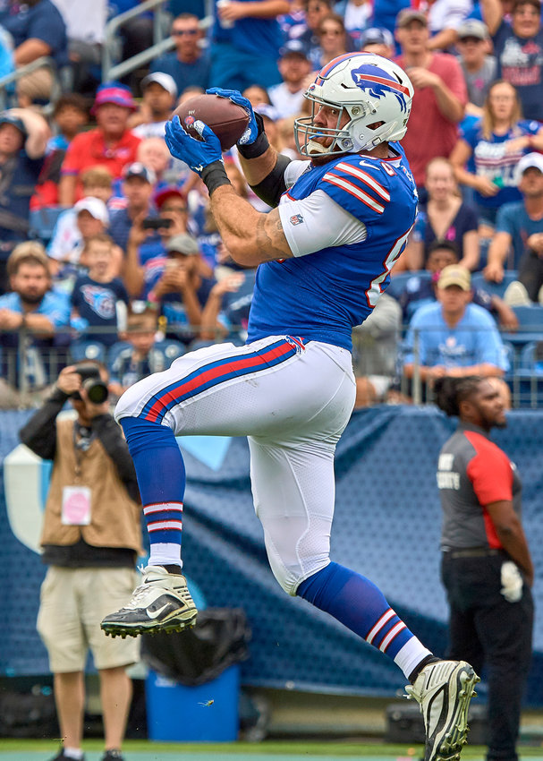 Buffalo Bills tight end Lee Smith (85) with a catch for a touchdown during the second quarter of an NFL game between the Bills and the Tennessee Titans Sunday, Oct. 6, 2019, at Nissan Stadium in Nashville, Tenn.