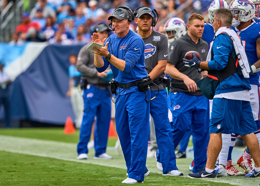 Buffalo Bills head coach Sean McDermott encourages his team during the first half of an NFL game between the Bills and the Tennessee Titans Sunday, Oct. 6, 2019, at Nissan Stadium in Nashville, Tenn.