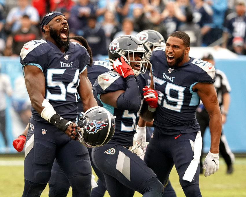 Tennessee Titans inside linebacker Rashaan Evans (54) reacts to the Titans' win over the Tampa Bay Buccaneers Sunday, Oct. 27, 2019, at Nissan Stadium in Nashville, Tenn.