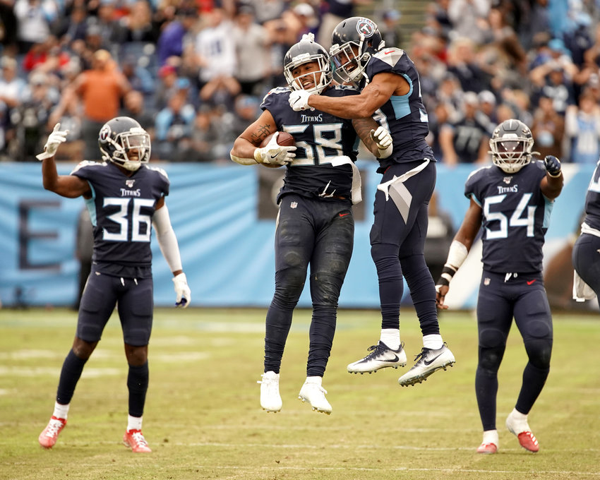 Tennessee Titans linebacker Harold Landry (58) celebrates a fumble recovery in the second half of an NFL football game against the Tampa Bay Buccaneers Sunday, Oct. 27, 2019, at Nissan Stadium in Nashville, Tenn.