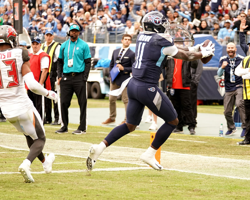 Tennessee Titans wide receiver A.J. Brown (11) with a reception for a touchdown during the second half of an NFL football game against the Tampa Bay Buccaneers Sunday, Oct. 27, 2019, at Nissan Stadium in Nashville, Tenn.