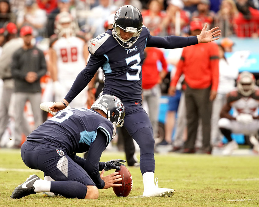 Tennessee Titans kicker Cody Parkey (3) with a successful 51-yard field goal in the second half of an NFL football game against the Tampa Bay Buccaneers Sunday, Oct. 27, 2019, at Nissan Stadium in Nashville, Tenn.