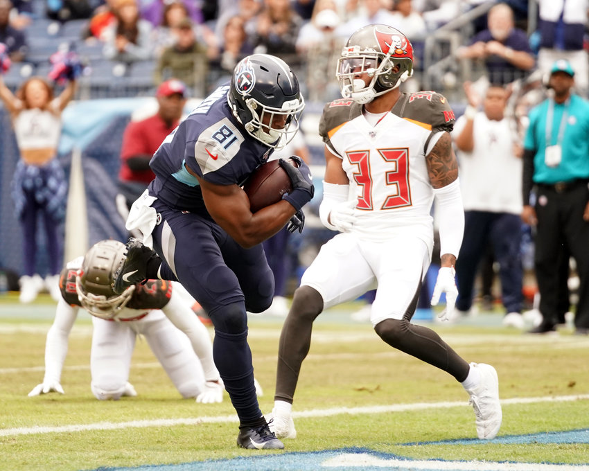 Tennessee Titans tight end Jonnu Smith (81) finds room to run during the first half of an NFL football game against the Tampa Bay Buccaneers Sunday, Oct. 27, 2019, at Nissan Stadium in Nashville, Tenn.