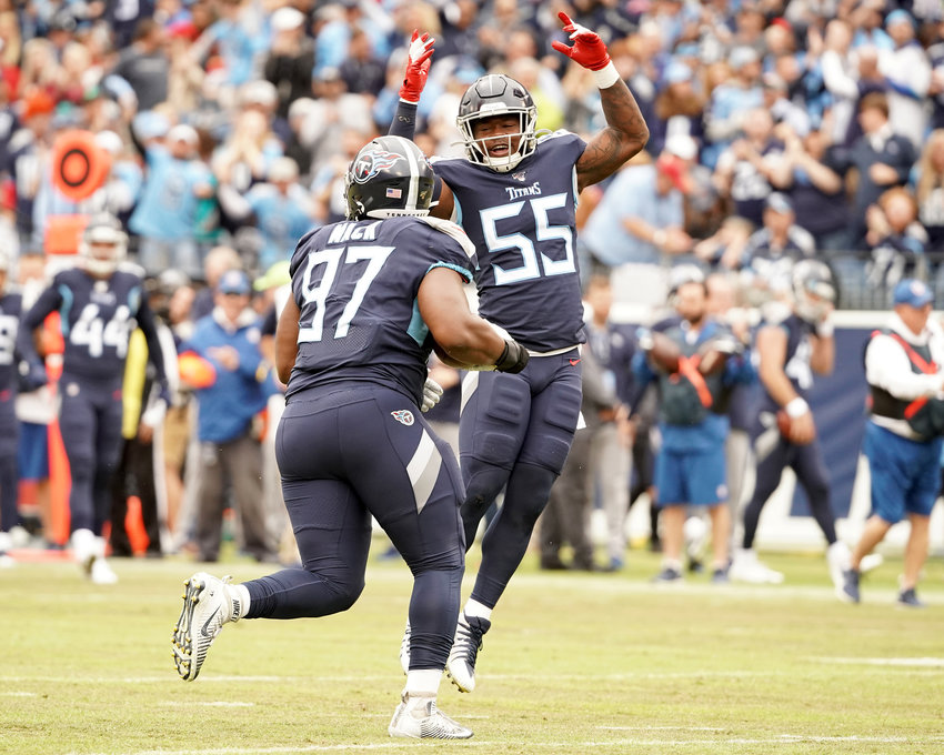 Tennessee Titans inside linebacker Jayon Brown (55) celebrates a tackle during the first half of an NFL football game against the Tampa Bay Buccaneers Sunday, Oct. 27, 2019, at Nissan Stadium in Nashville, Tenn.