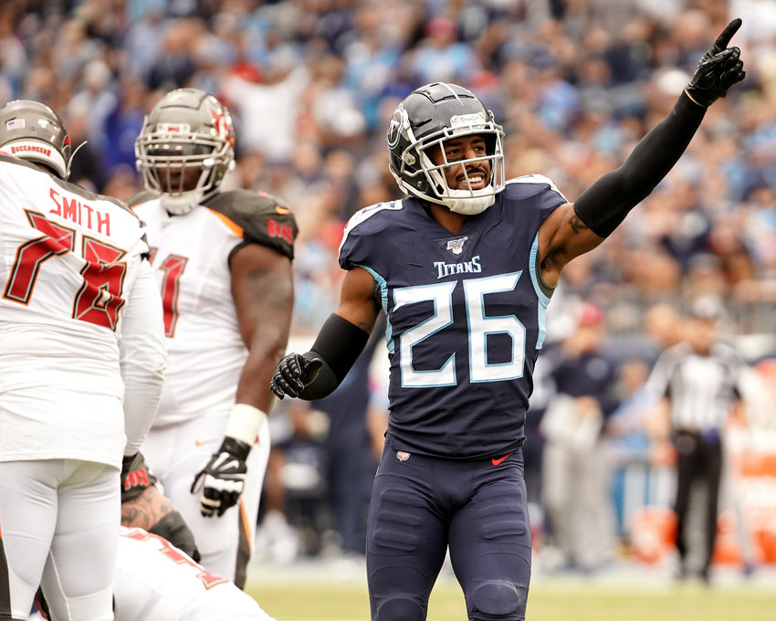 Tennessee Titans cornerback Logan Ryan (26) celebrates a tackle of Tampa Bay Buccaneers quarterback Jameis Winston (3) during the first half of an NFL game Sunday, Oct. 27, 2019, at Nissan Stadium in Nashville, Tenn.