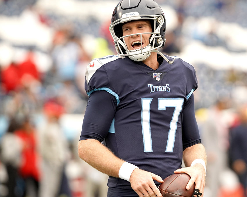 Tennessee Titans quarterback Ryan Tannehill (17) is relaxed during the warmup prior to the game against the Tampa Bay Buccaneers Sunday, Oct. 27, 2019, at Nissan Stadium in Nashville, Tenn.