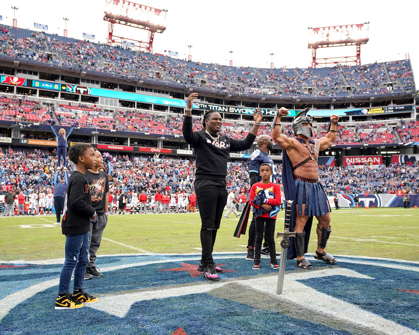 The 12th Titan ceremony prior to the Tampa Bay Buccaneers at Tennessee Titans NFL football game Sunday, Oct. 27, 2019, at Nissan Stadium in Nashville, Tenn.