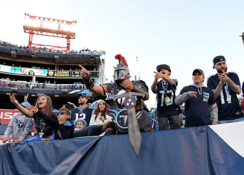 Tennessee Titans fans celebrate the win over the Kansas City Chiefs Sunday, Nov. 10, 2019, at Nissan Stadium in Nashville, Tenn.